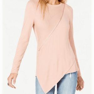 Bar lll Top Blouse Asymmetrical Zipper Blush Sz L